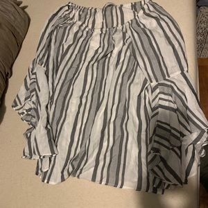 Gray striped blouse with bell sleeves